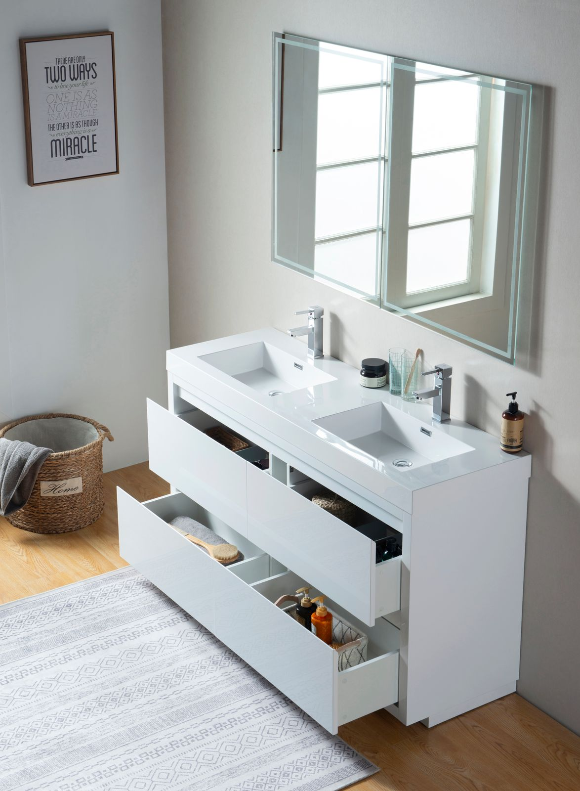 "60"" Double Sink Bathroom Vanity With Resin Top, White Finish"