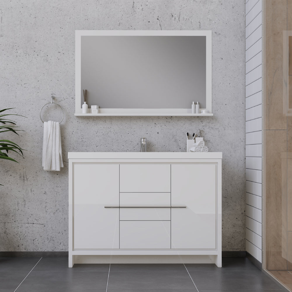 Sortino 48 inch Modern Bathroom Vanity White