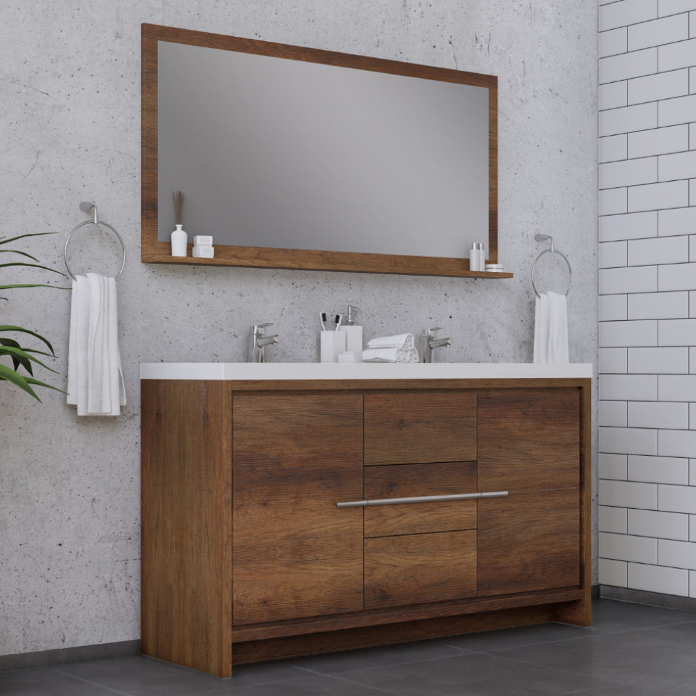 Sortino 60 inch Double Modern Bathroom Vanity Rosewood