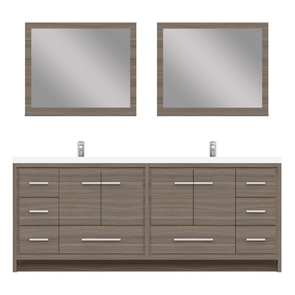 Sortino 84 inch Modern Bathroom Vanity Gray