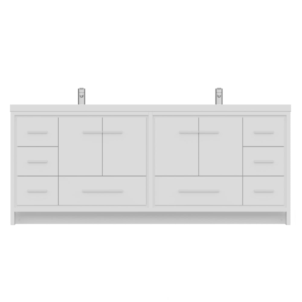 Sortino 84 inch Modern Bathroom Vanity White
