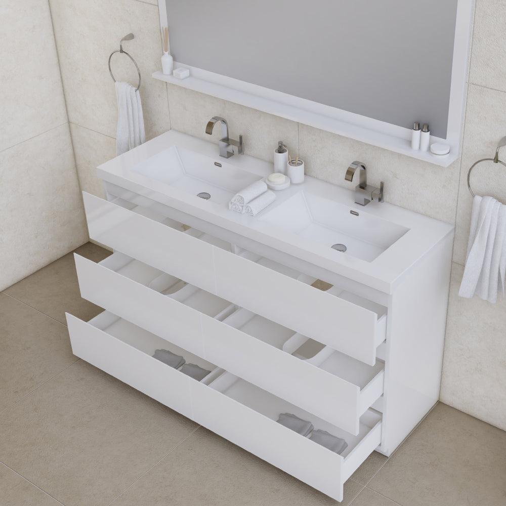 Paterno 60 inch Double Modern Freestanding Bathroom Vanity White