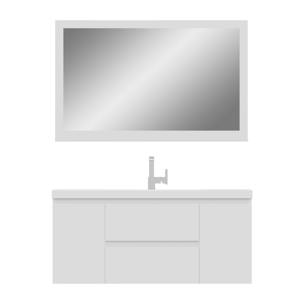 Paterno 48 inch Modern Wall Mounted Bathroom Vanity White