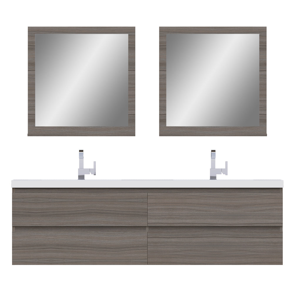 Paterno 72 inch Modern Wall Mounted Bathroom Vanity Gray