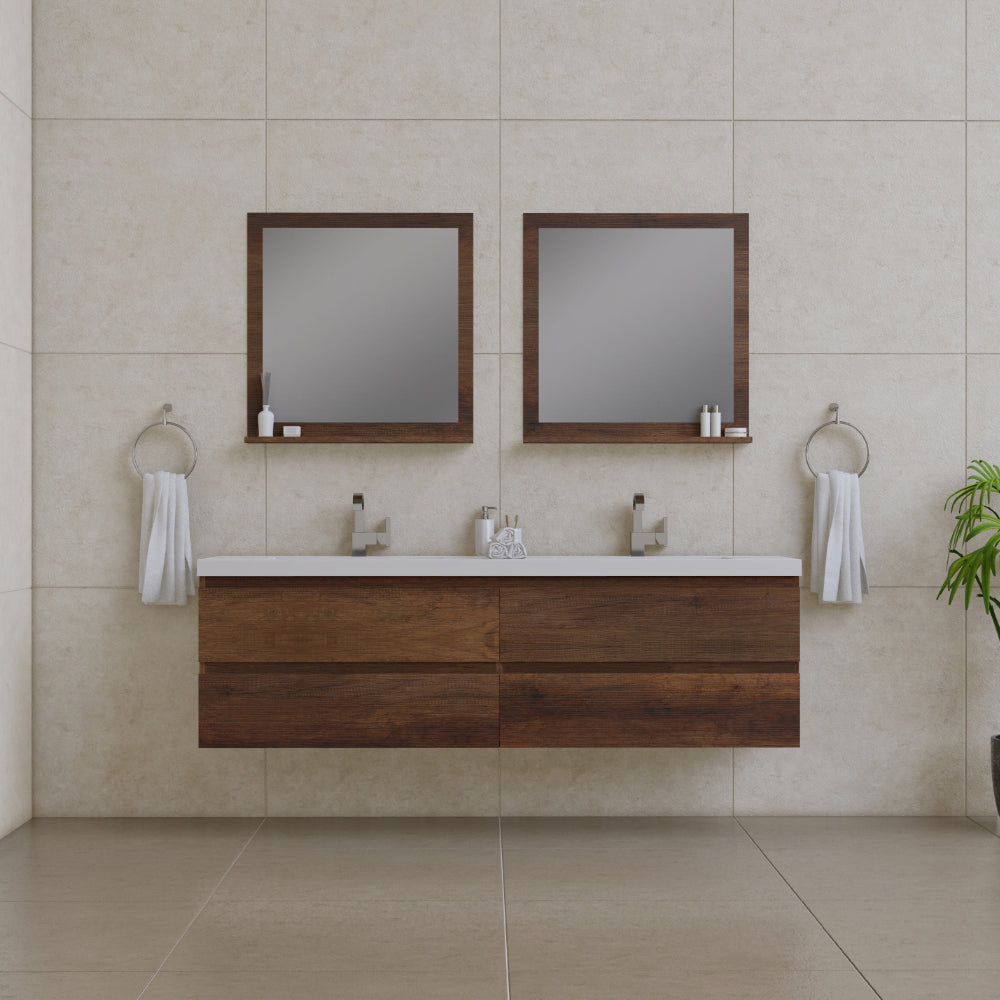 Paterno 72 inch Modern Wall Mounted Bathroom Vanity Rosewood