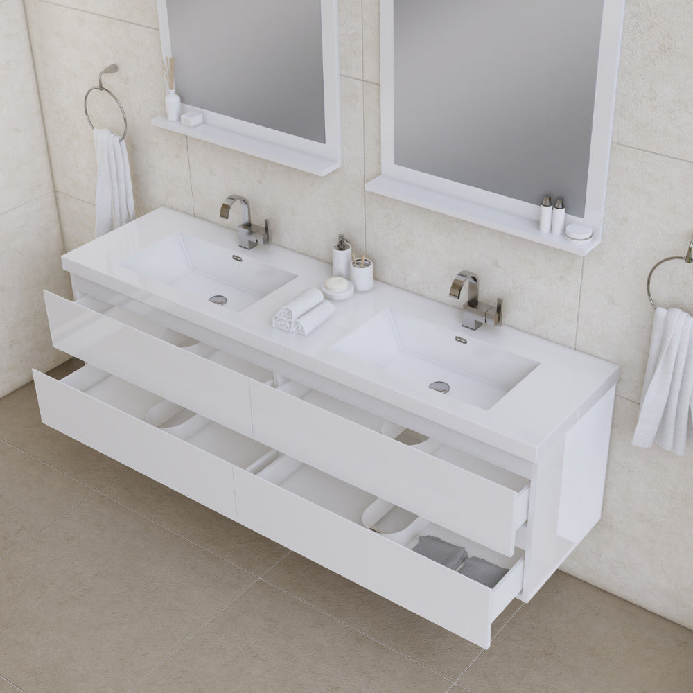 Paterno 72 inch Modern Wall Mounted Bathroom Vanity White