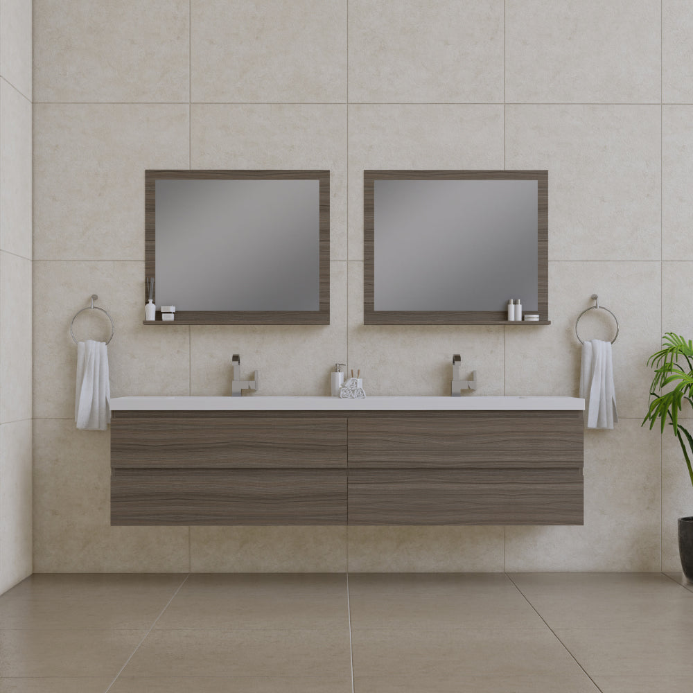 Paterno 84 inch Modern Wall Mounted Bathroom Vanity Gray