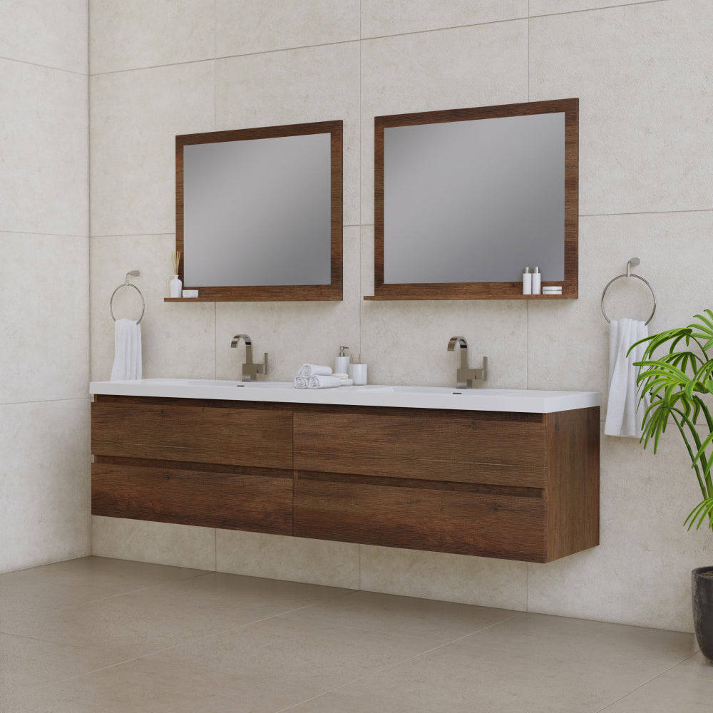 Paterno 84 inch Modern Wall Mounted Bathroom Vanity Rosewood