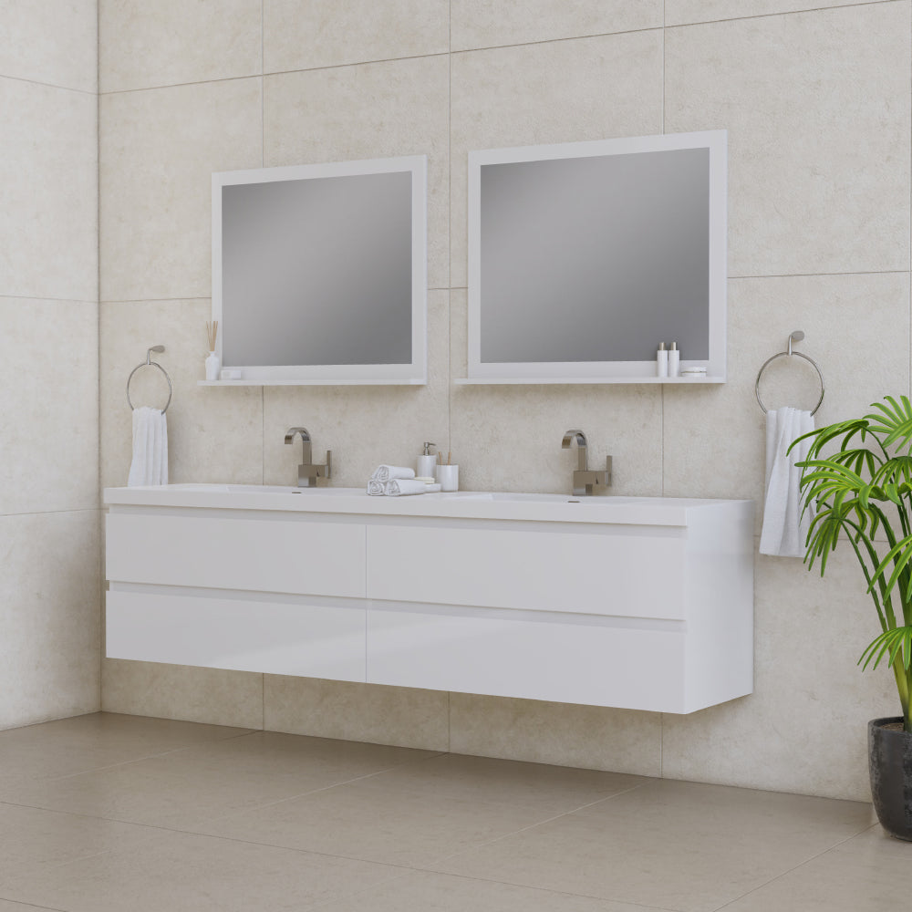 Paterno 84 inch Modern Wall Mounted Bathroom Vanity White