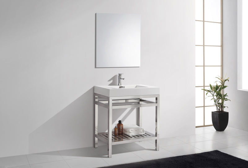 "Cisco 30"" Stainless Steel Console with Acrylic Sink - Chrome"