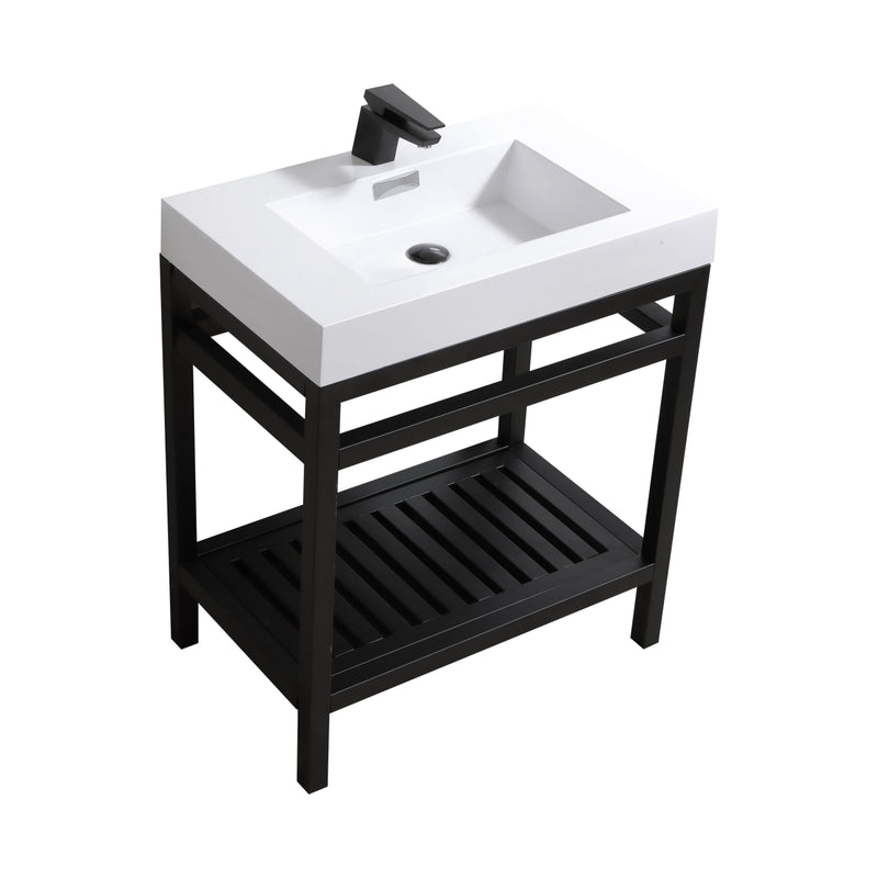 "Cisco 30"" Stainless Steel Console with Acrylic Sink - Matt Black"