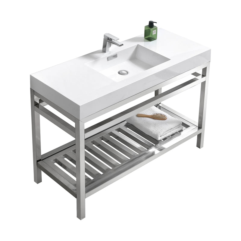 "Cisco 48"" Stainless Steel Console with Acrylic Sink - Chrome"