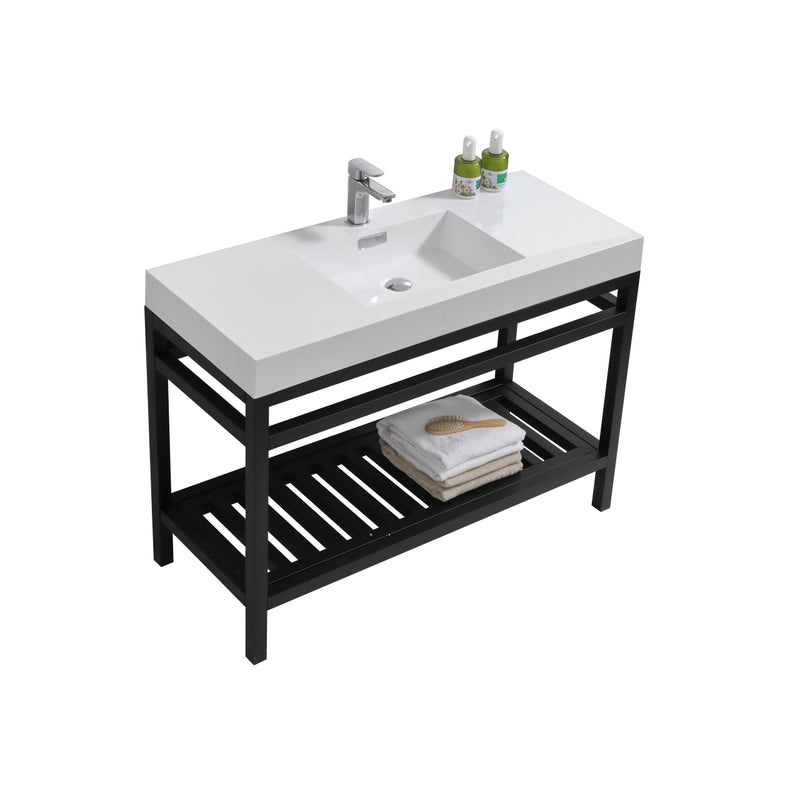 "Cisco 48"" Stainless Steel Console with Acrylic Sink - Matt Black"