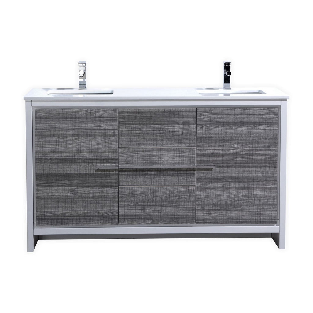 KubeBath Dolce 60″ Double Sink Ash Gray Modern Bathroom Vanity with White Quartz Counter-Top