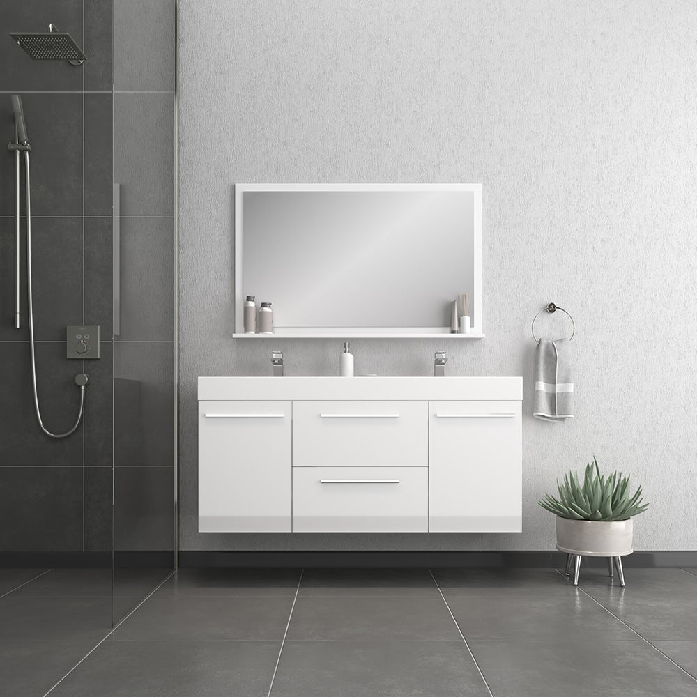 Ripley 54 inch White Double Vanity with Sink
