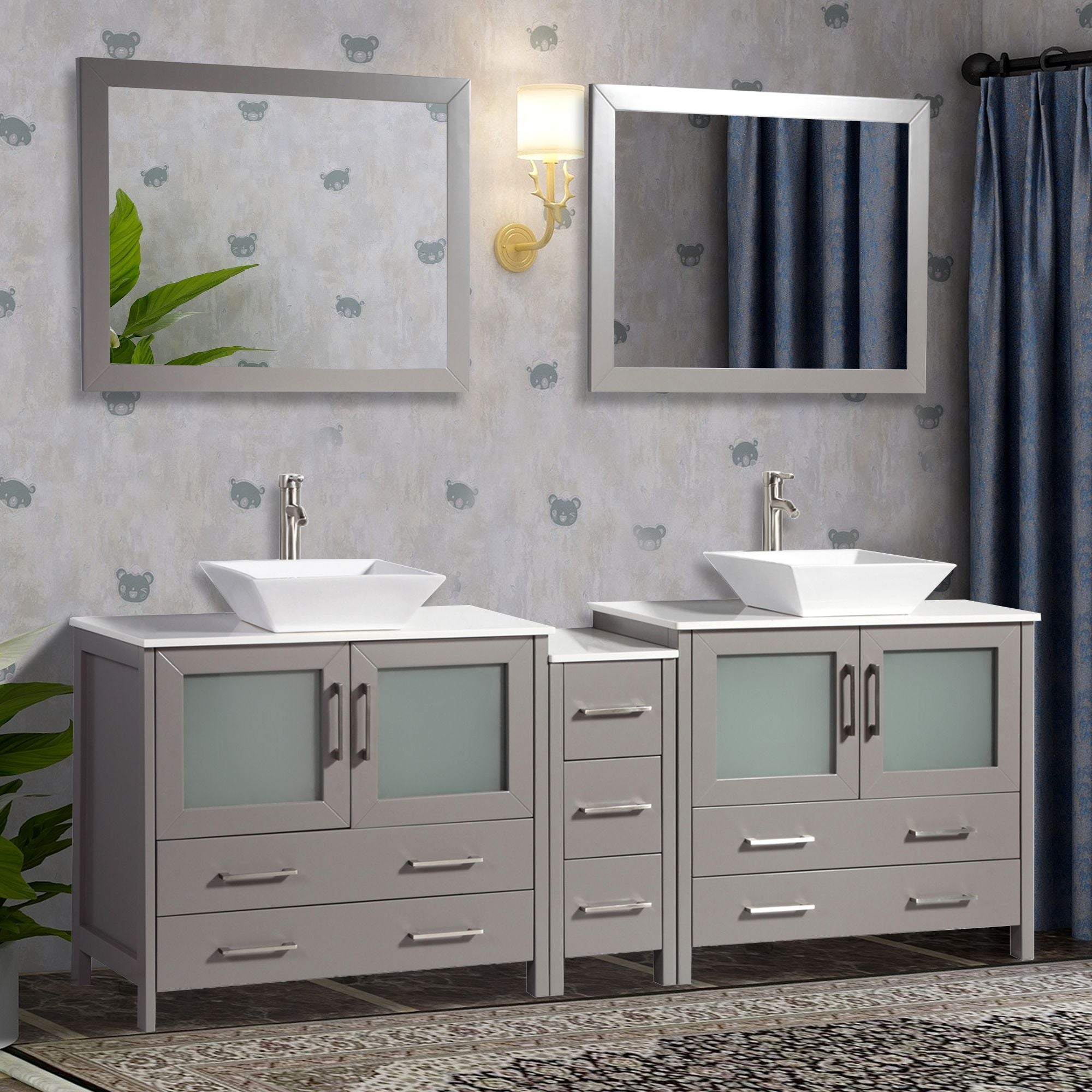 "84"" Double Sink Bathroom Vanity Set with Ceramic Vanity Top, Grey"