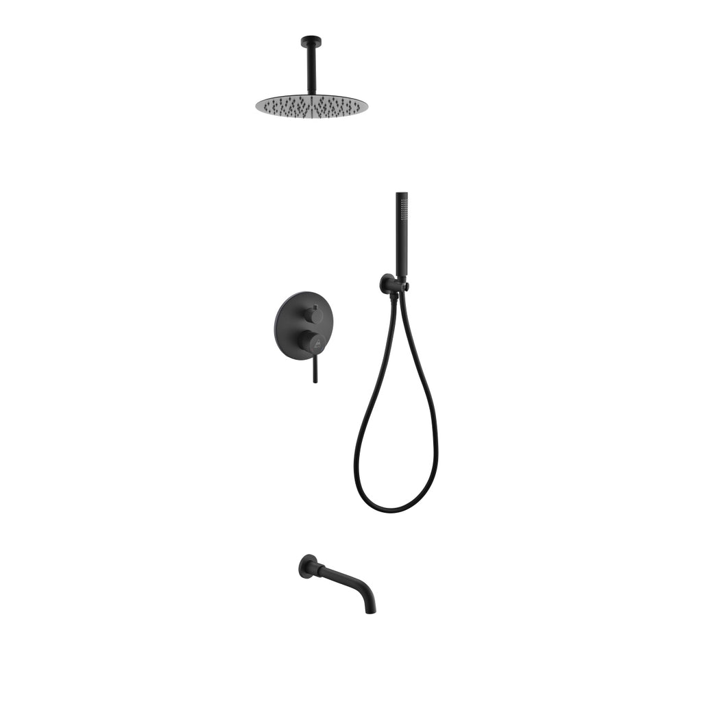 "Aqua Rondo Matte Black Shower Set w/ Ceiling Mount 12"" Rain Shower, Handheld and Tub Filler"