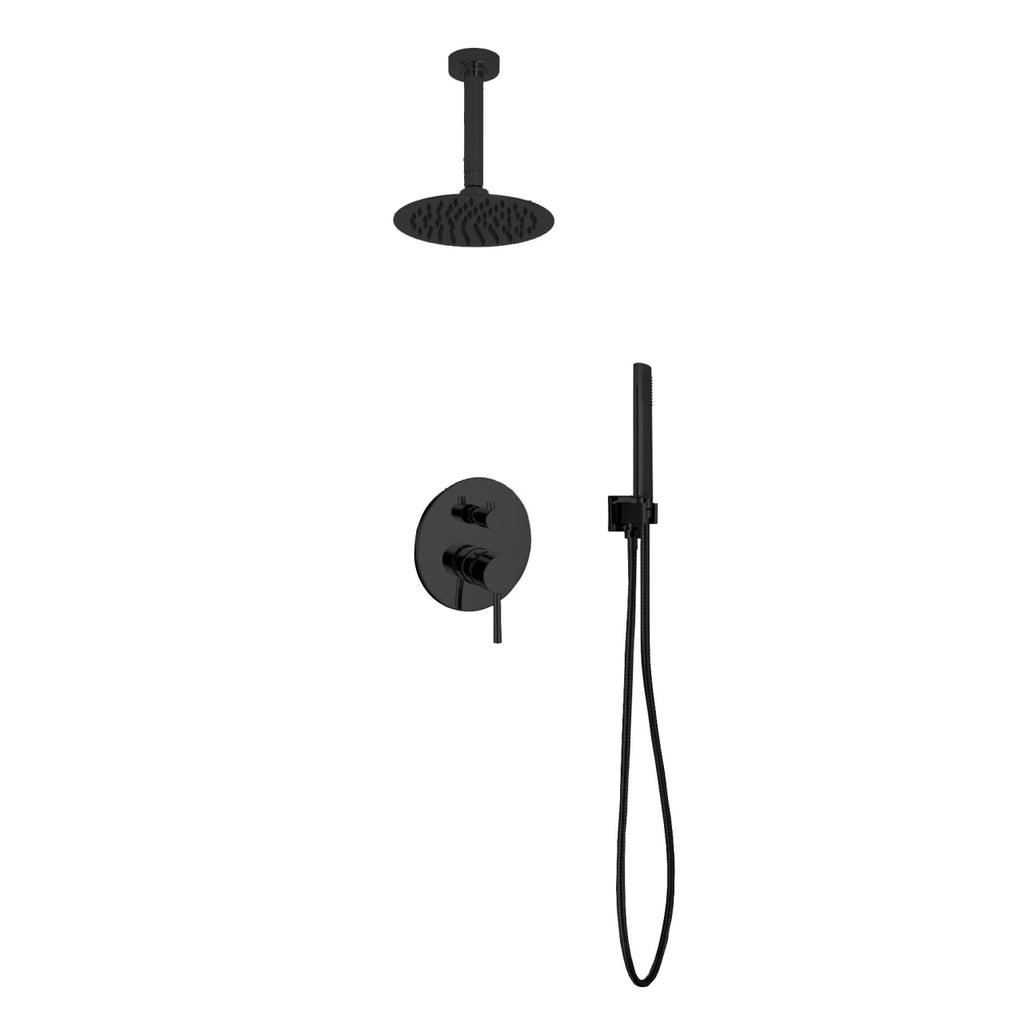 "Aqua Rondo Matte Black Shower Set w/ 8"" Ceiling Mount Square Rain Shower and Handheld"