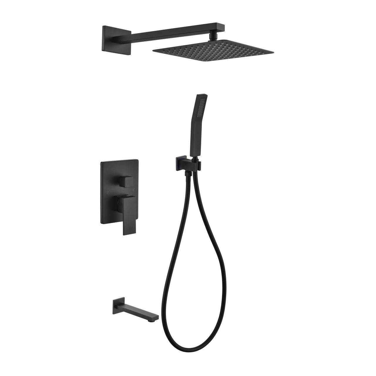 "Aqua Piazza Matte Black Shower Set with 12"" Square Rain Shower, Handheld and Tub Filler"