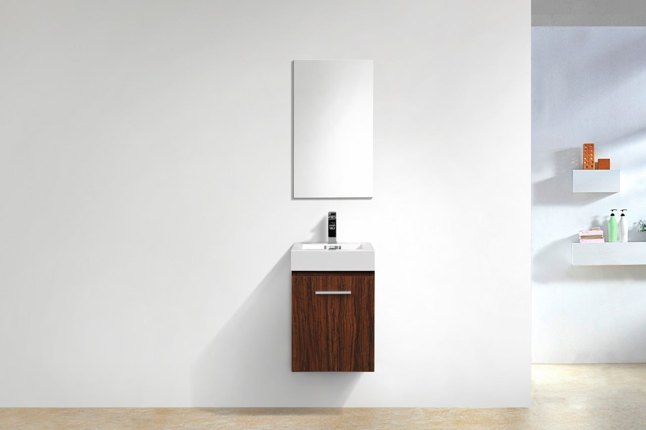 "Bliss 16"" Walnut Wall Mount Modern Bathroom Vanity"