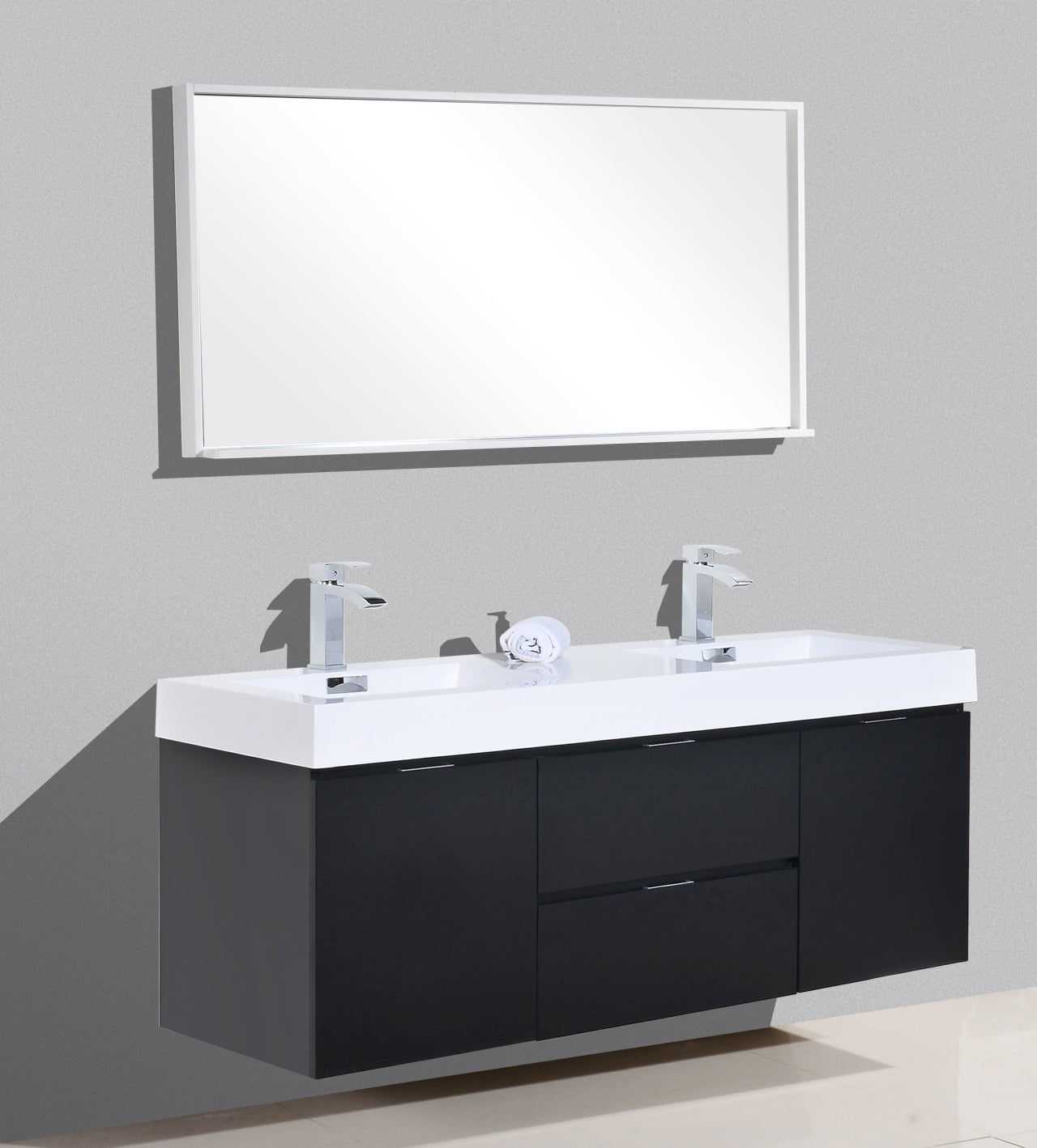 "Bliss 60"" Double  Sink Black Wall Mount Modern Bathroom Vanity"