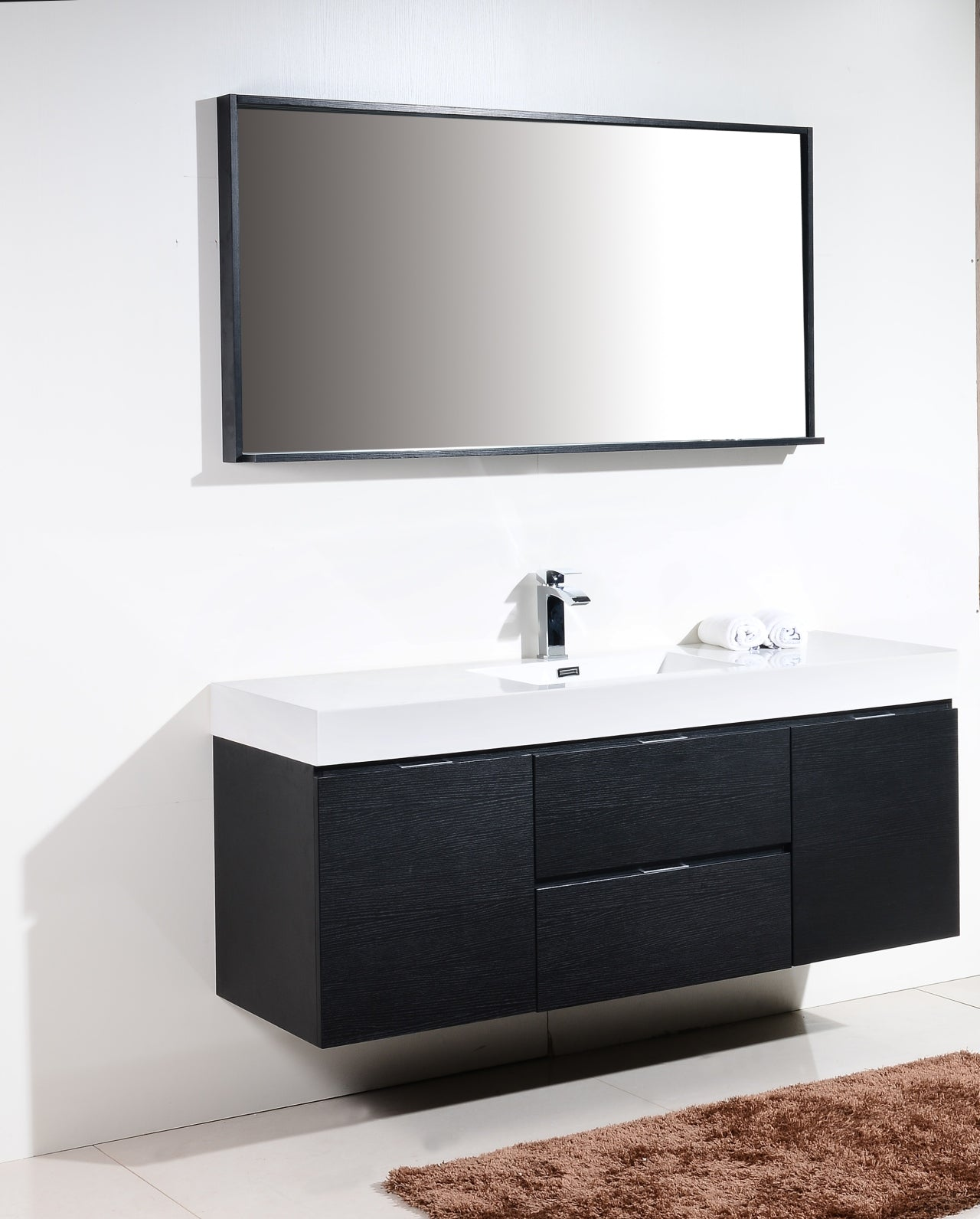"Bliss 60"" Single Sink Black Wall Mount Modern Bathroom Vanity"