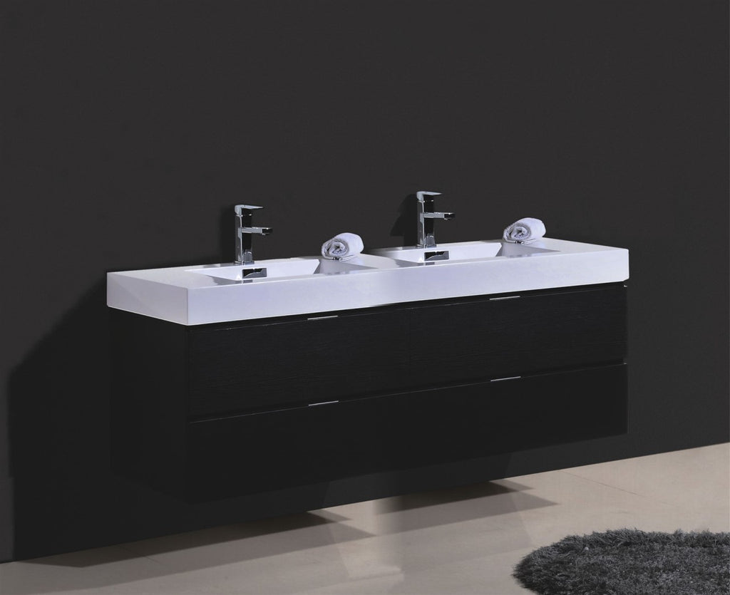 "Bliss 72"" Double Sink Black Wall Mount Modern Bathroom Vanity"