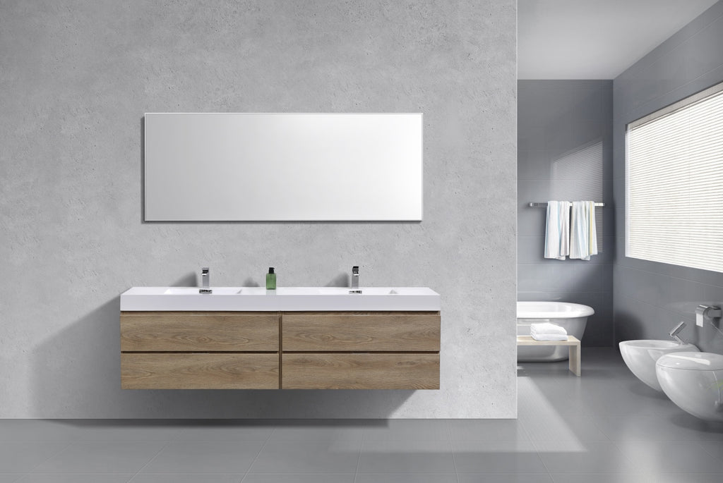"Bliss 72"" Double  Sink Butternut Wall Mount Modern Bathroom Vanity"