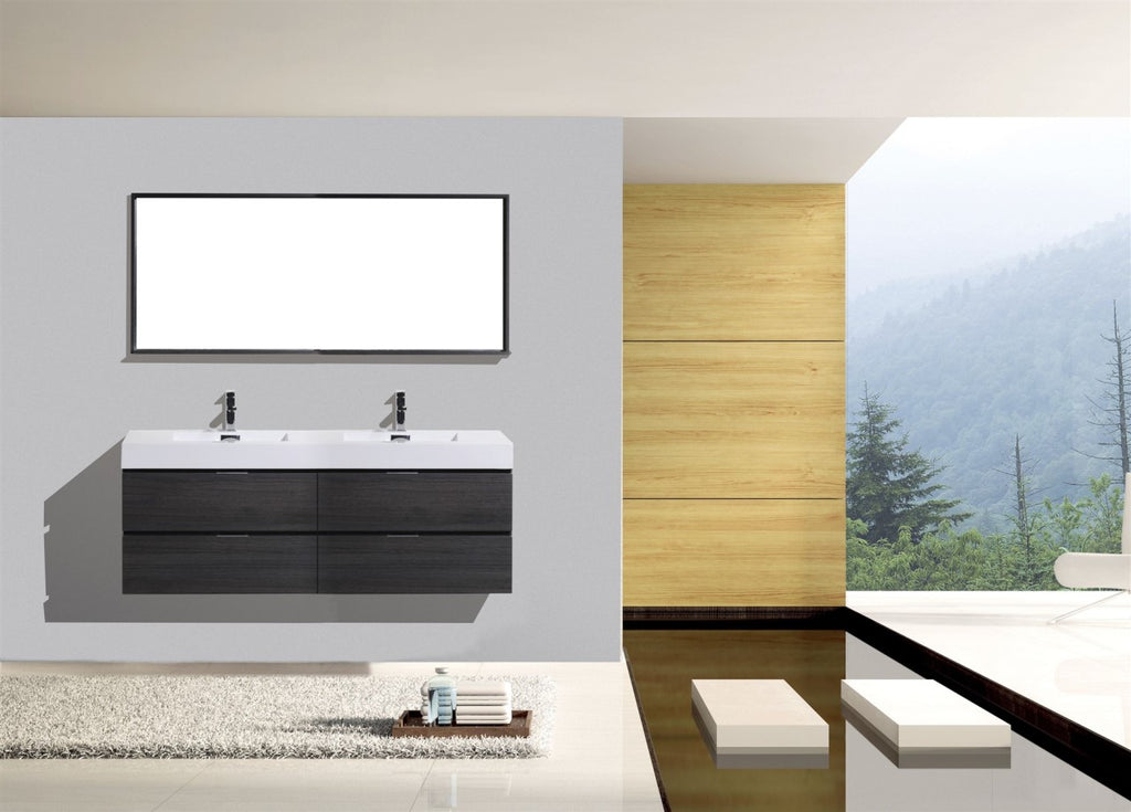 "Bliss 72"" Double Sink Gray Oak Wall Mount Modern Bathroom Vanity"