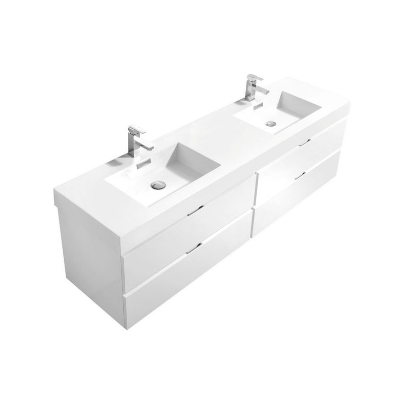 "Bliss 72"" Double Sink High Gloss White Wall Mount Modern Bathroom Vanity"