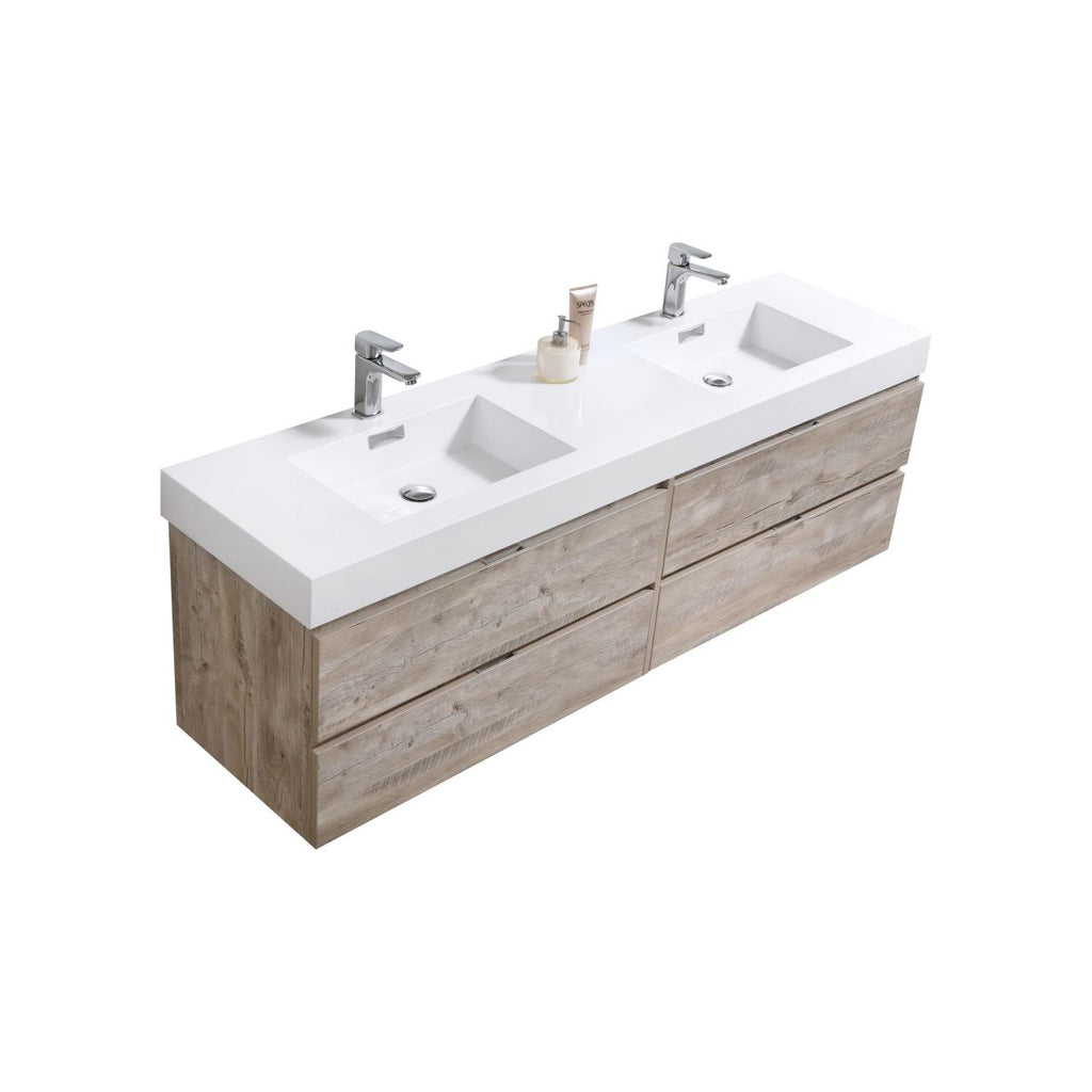 "Bliss 72"" Double  Sink Nature Wood Wall Mount Modern Bathroom Vanity"