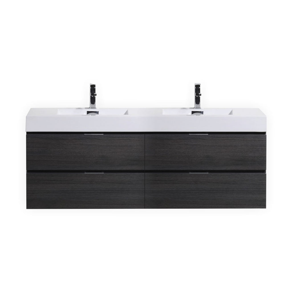 "Bliss 80"" Double Sink Gray Oak Wall Mount Modern Bathroom Vanity"