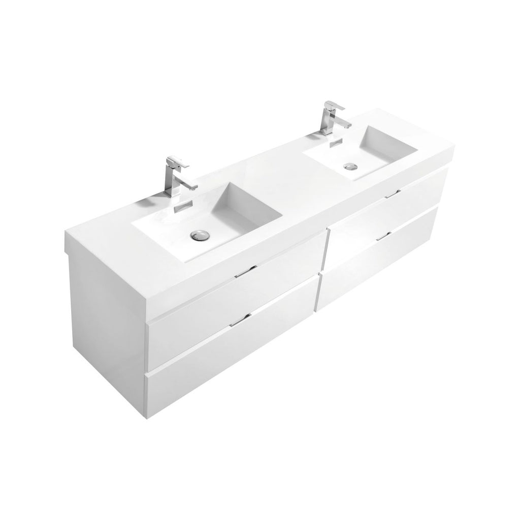"Bliss 80"" Double Sink High Gloss White Wall Mount Modern Bathroom Vanity"