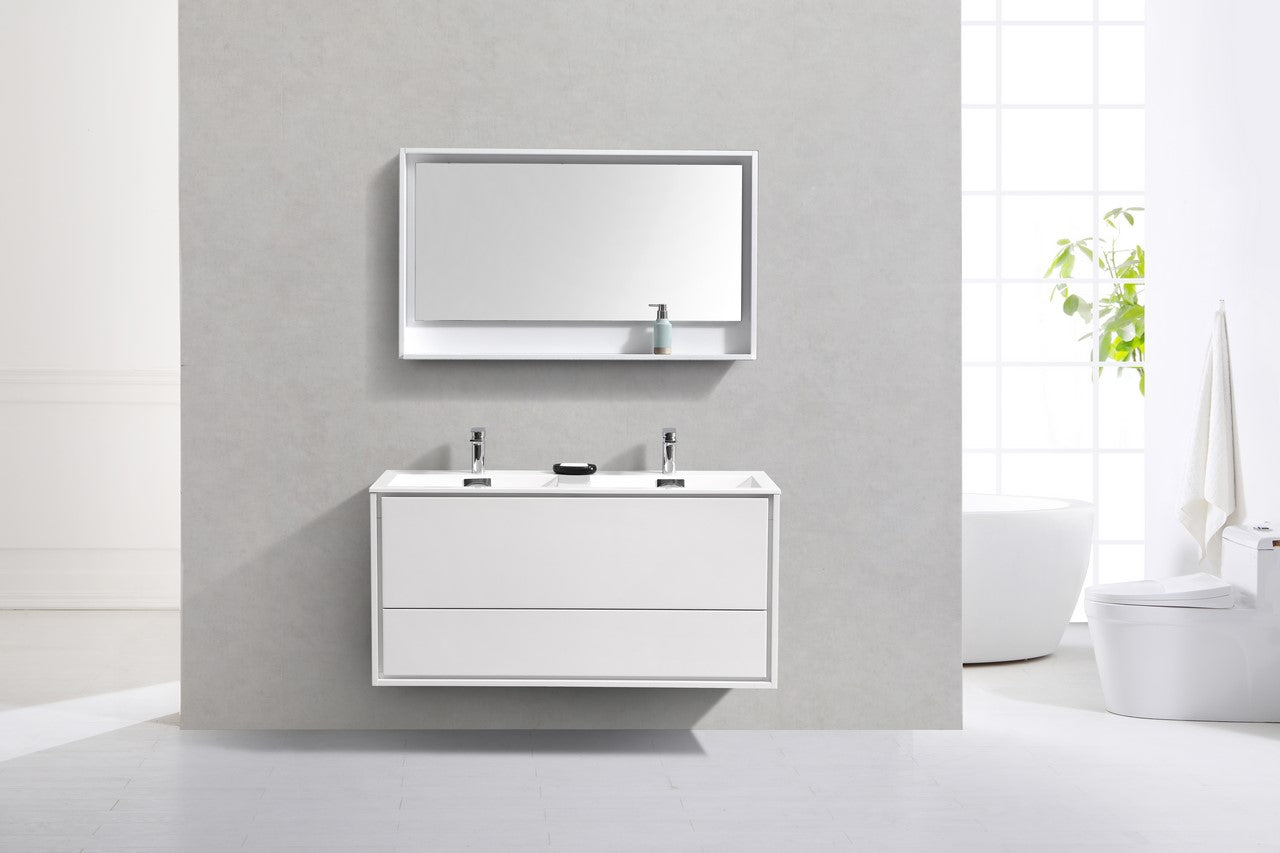 "DeLusso 48"" Double Sink High Glossy White Wall Mount Modern Bathroom Vanity"