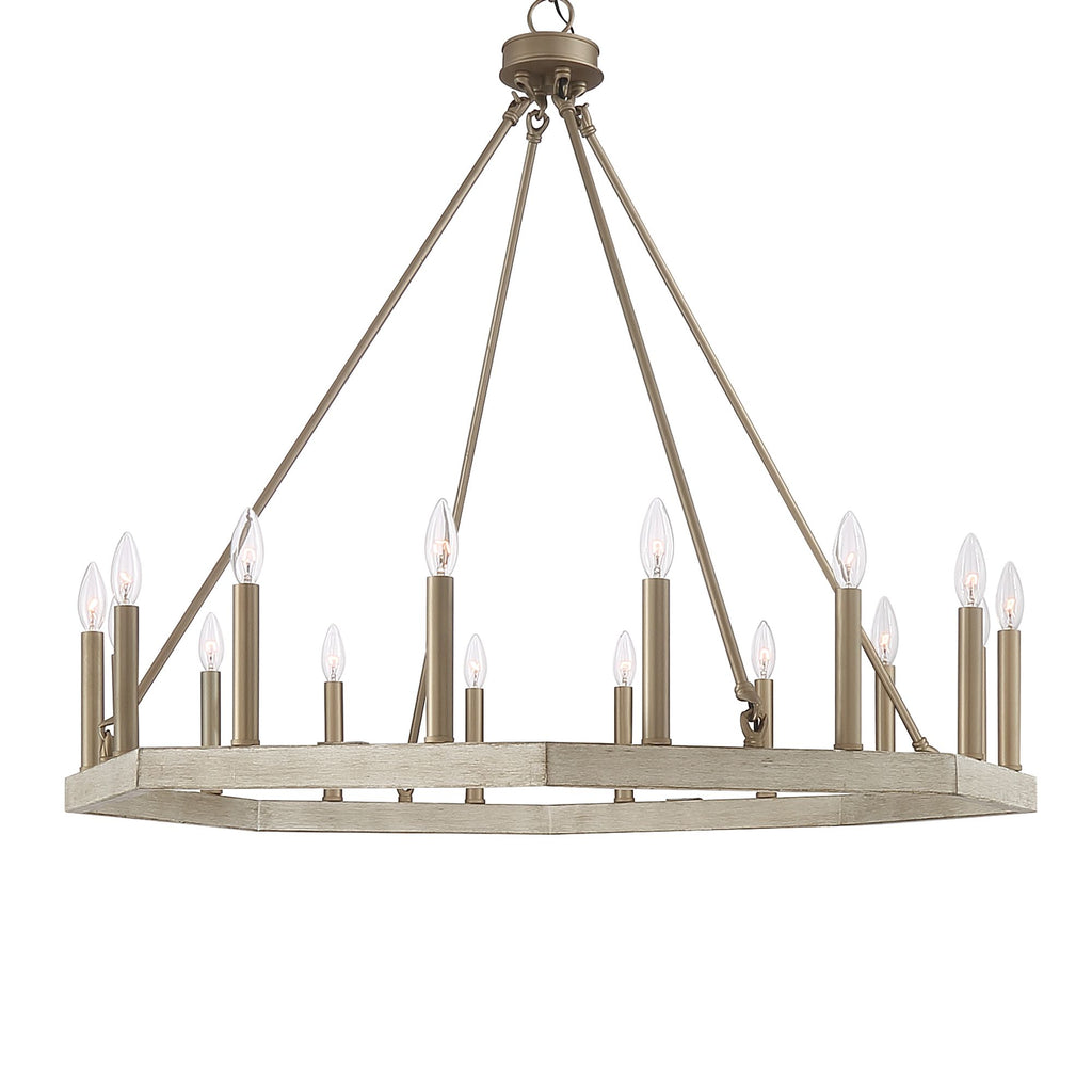 16 - Light Candle Style Wagon Wheel Chandelier Brass Dust