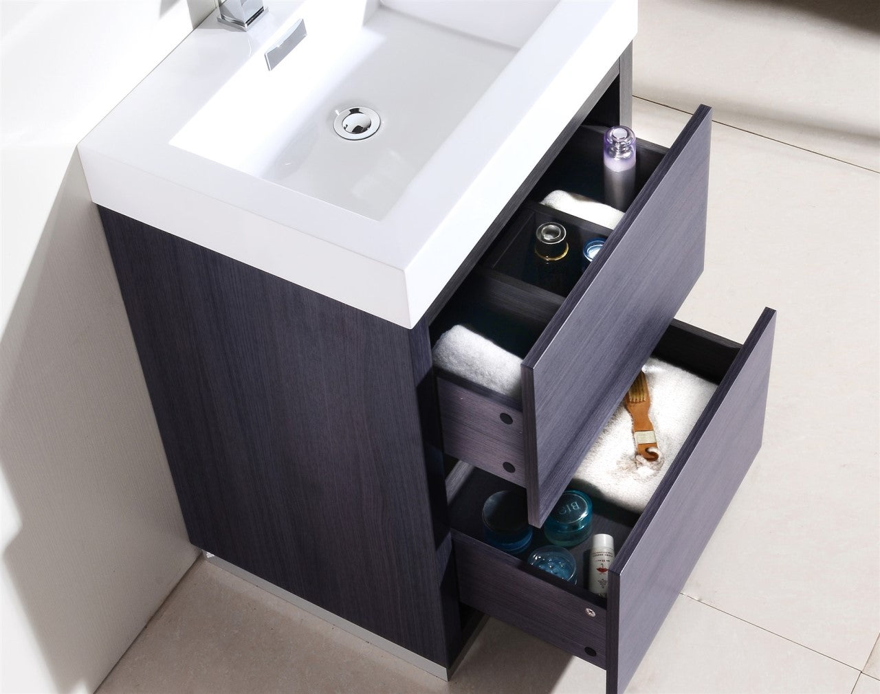 "Bliss 24"" Gray Oak Free Standing Modern Bathroom Vanity"