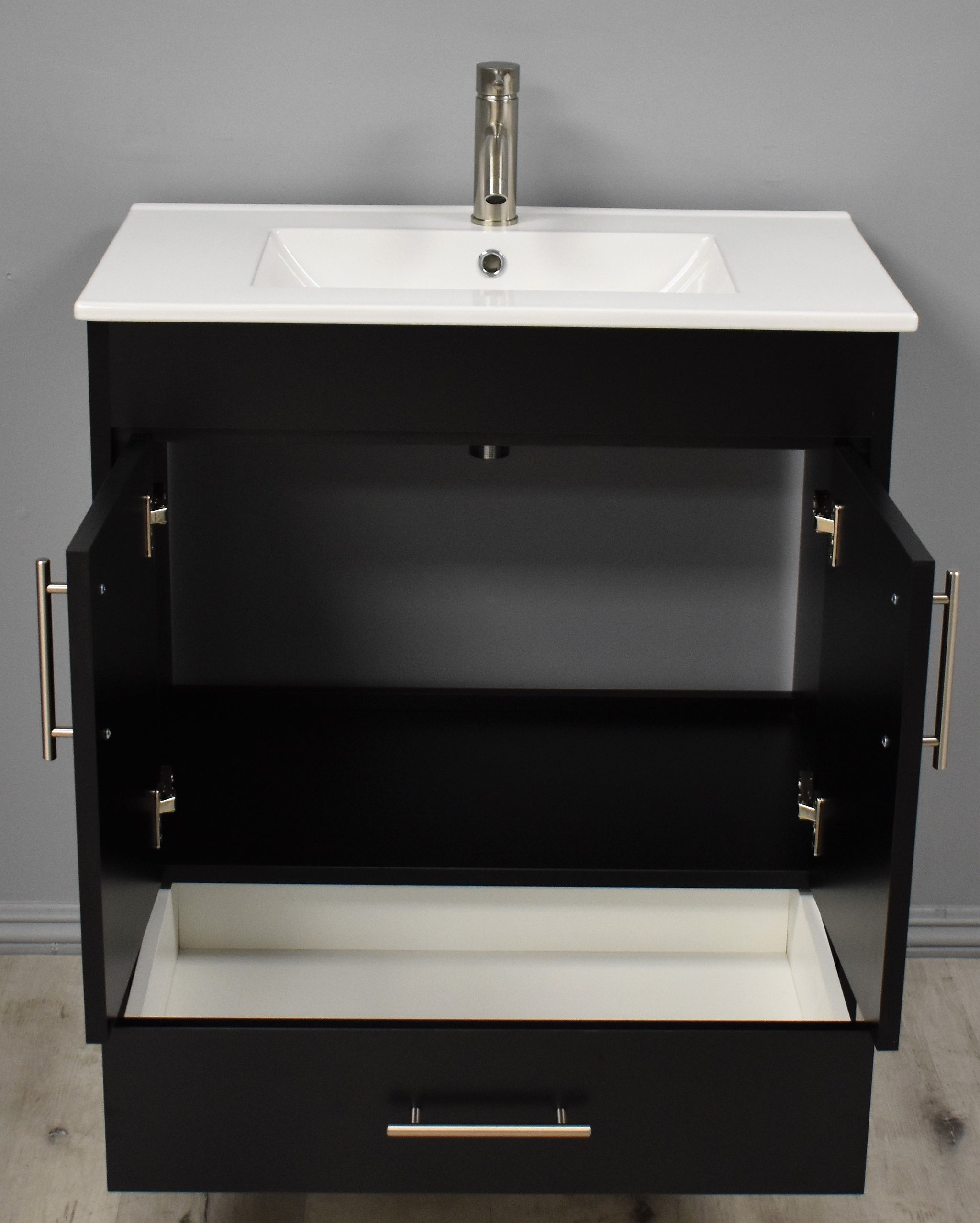 "Pacific 30"" Modern Bathroom Vanity in Black with Integrated Ceramic Top and Brushed Nickel Round Handles"