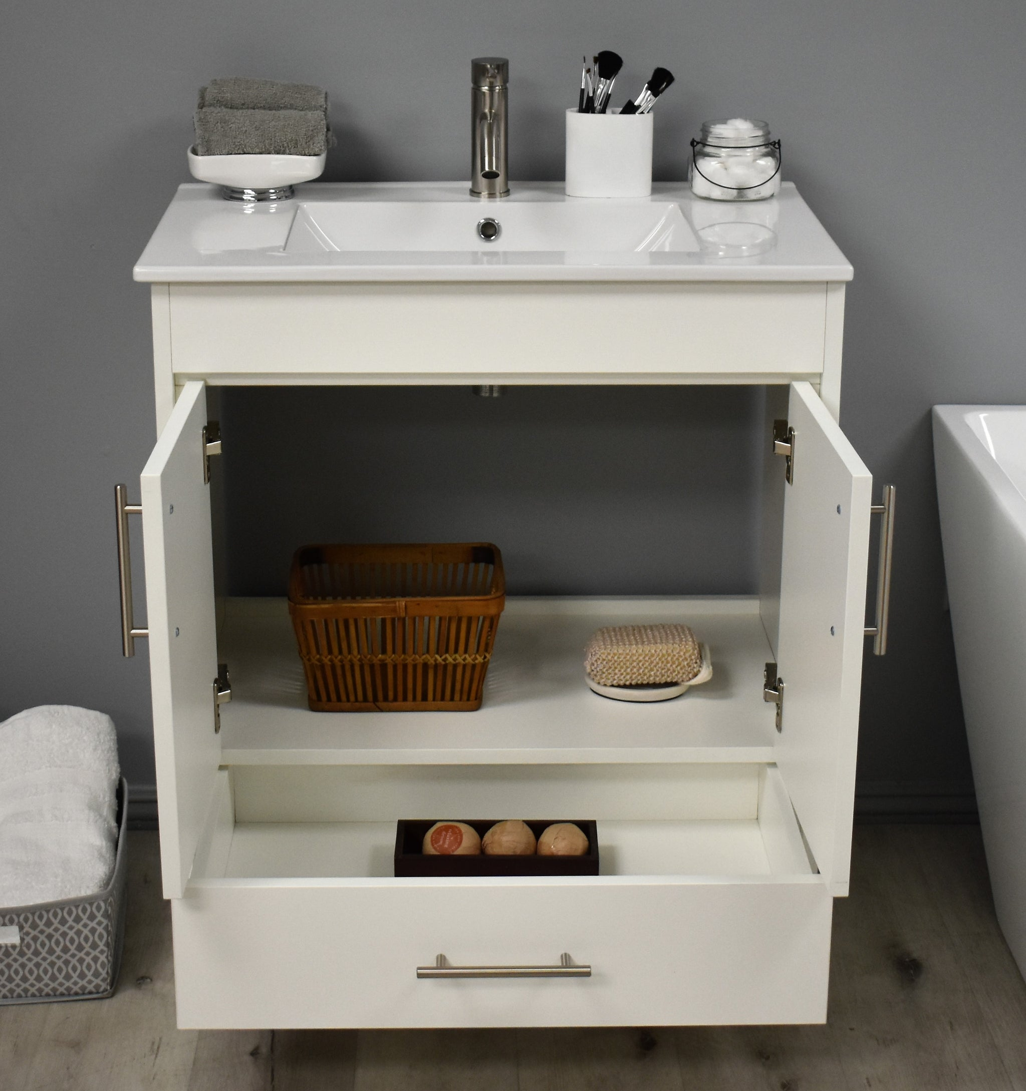"Pacific 30"" Modern Bathroom Vanity in Soft White with Integrated Ceramic Top and Brushed Nickel Round Handles"