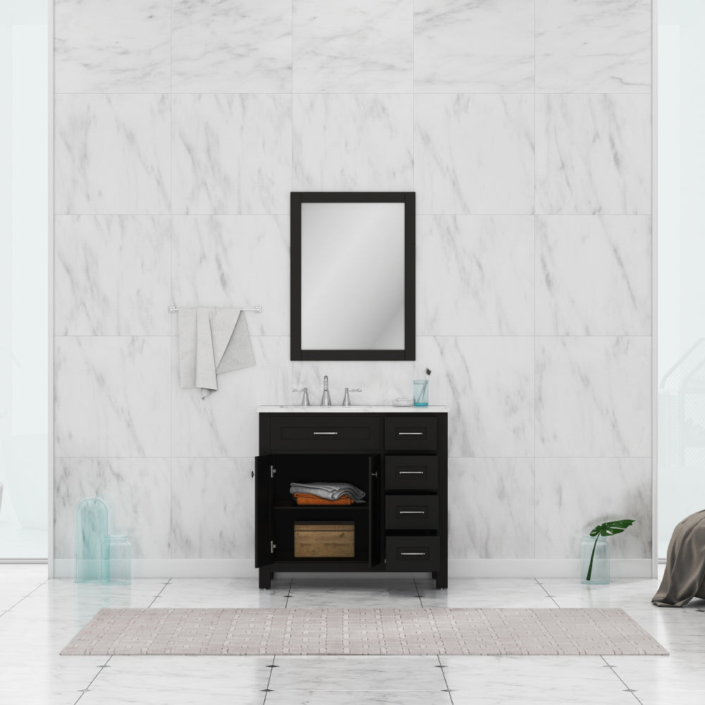 Norwalk 36 inch Drawer Vanity Espresso with Carrera Marble Top