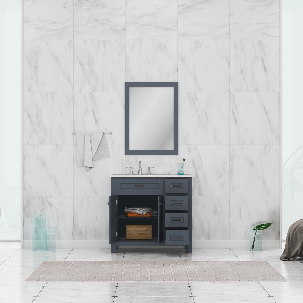 Norwalk 36 inch Drawer Vanity in Gray with Carrera Marble Top