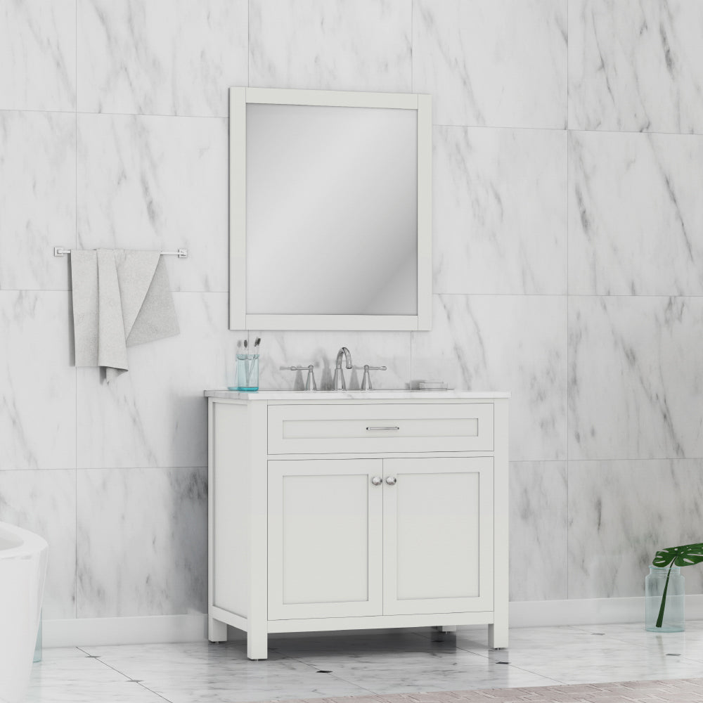 Norwalk 36 inch Vanity White with Carrera Marble Top