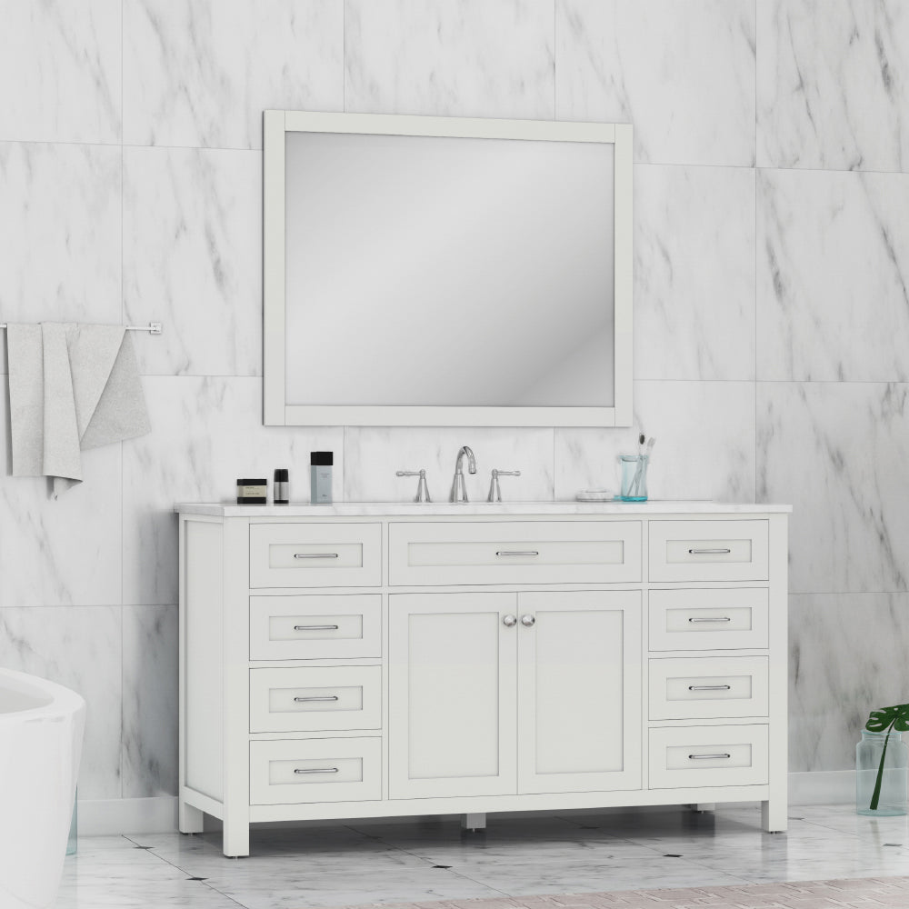 Norwalk 60 inch Single Vanity White with Carrera Marble Top
