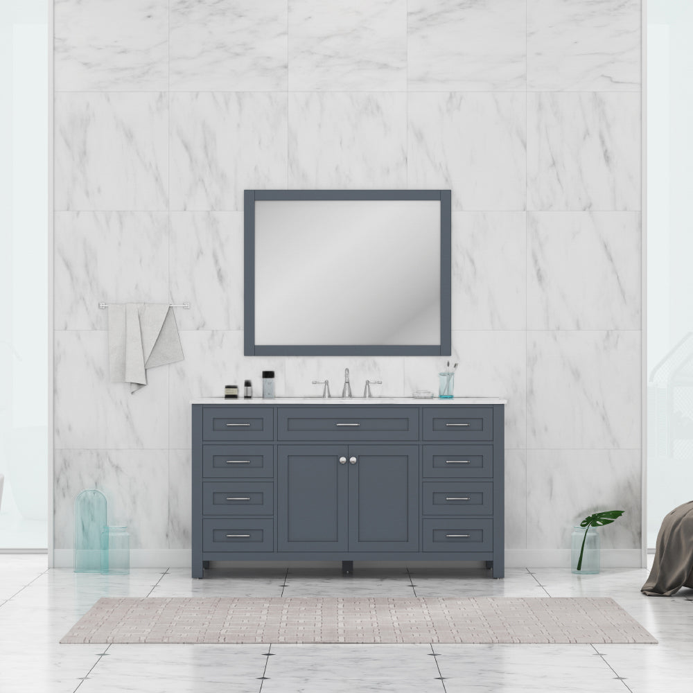 Norwalk 60 inch Single Vanity in Gray with Carrera Marble Top