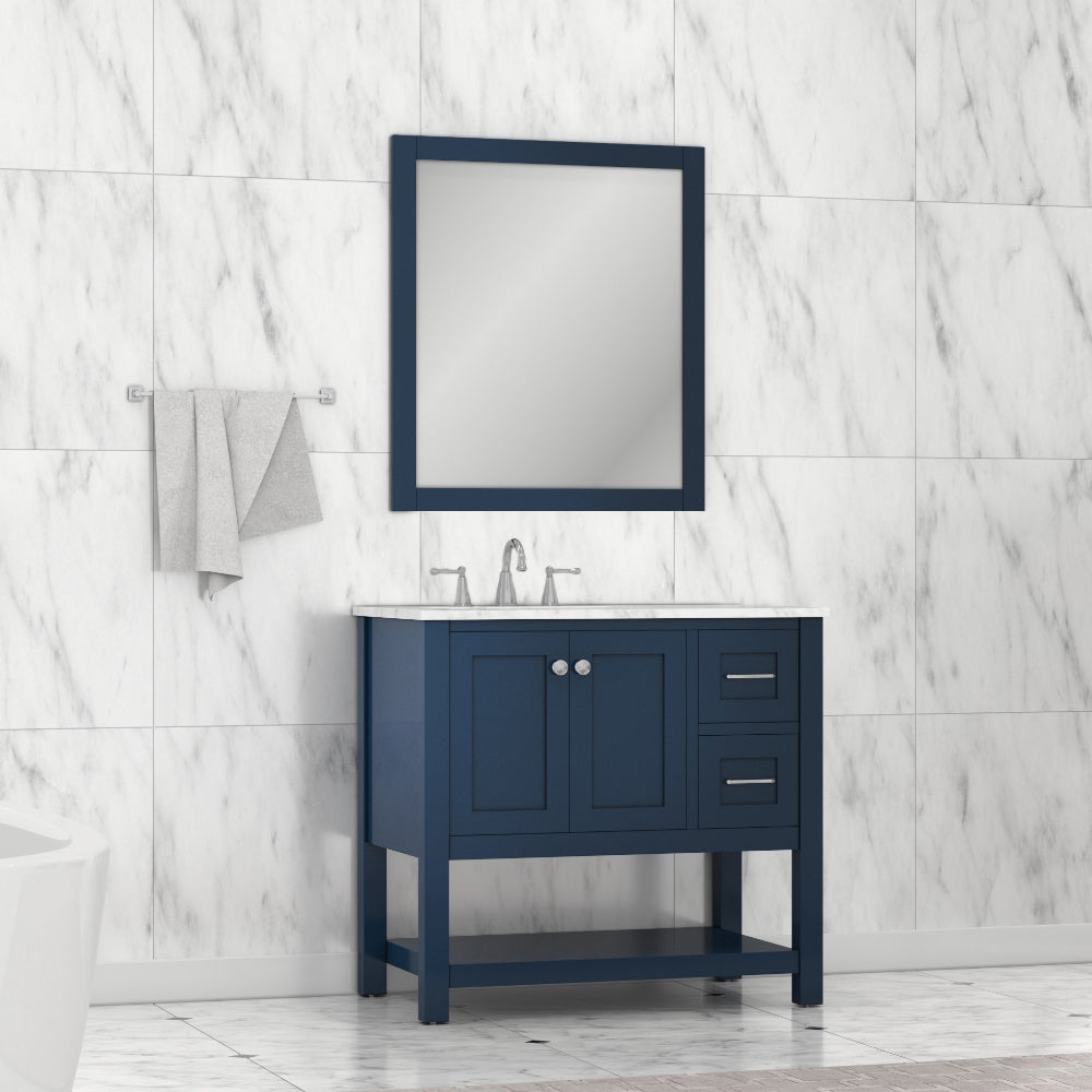Wilmington 36 inch Vanity Blue with Carrera Marble Top