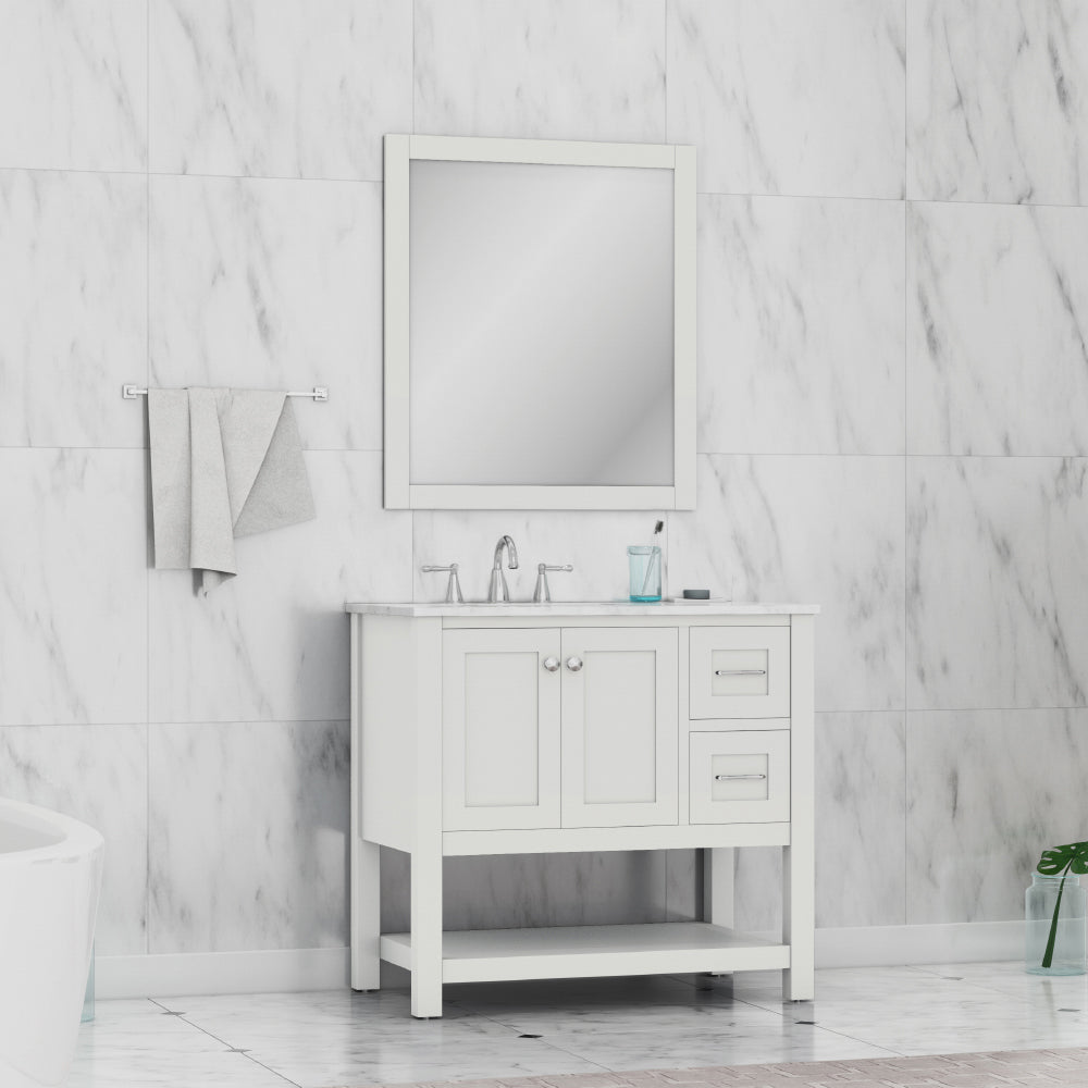 Wilmington 36 inch Vanity White with Carrera Marble Top