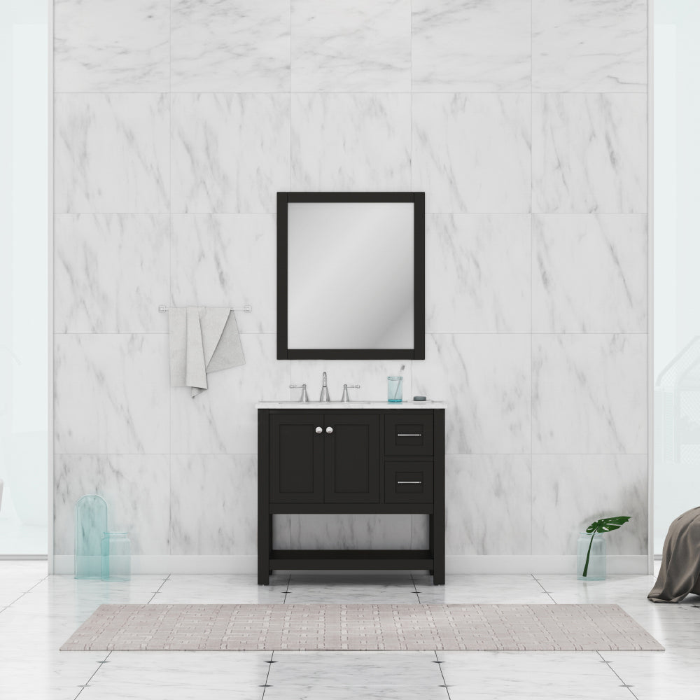 Wilmington 36 inch Vanity Espresso with Carrera Marble Top