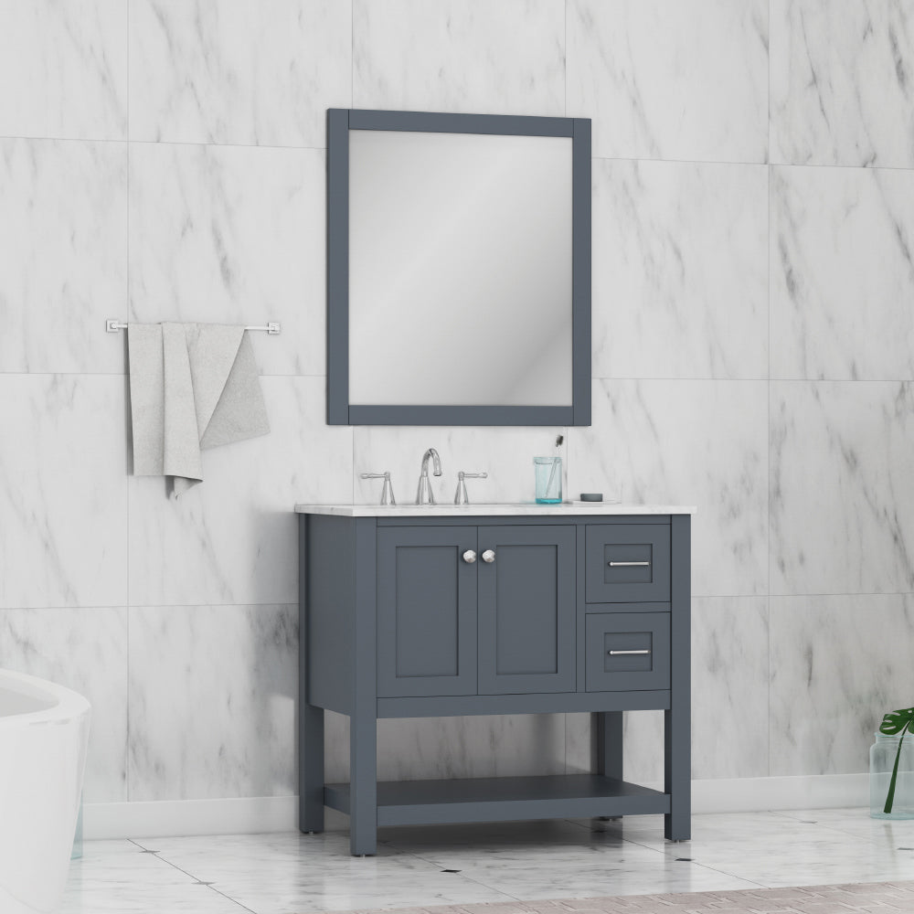 Wilmington 36 inch Vanity Gray with Carrera Marble Top