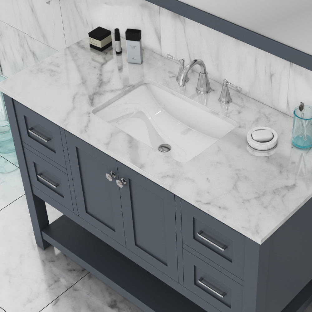 Wilmington 48 inch Vanity Gray with Carrera Marble Top