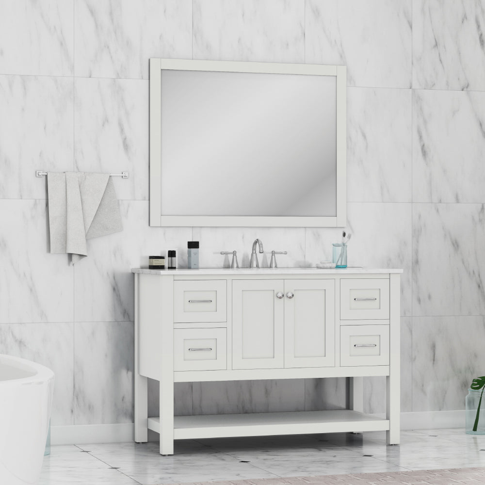 Wilmington 48 inch Vanity White with Carrera Marble Top