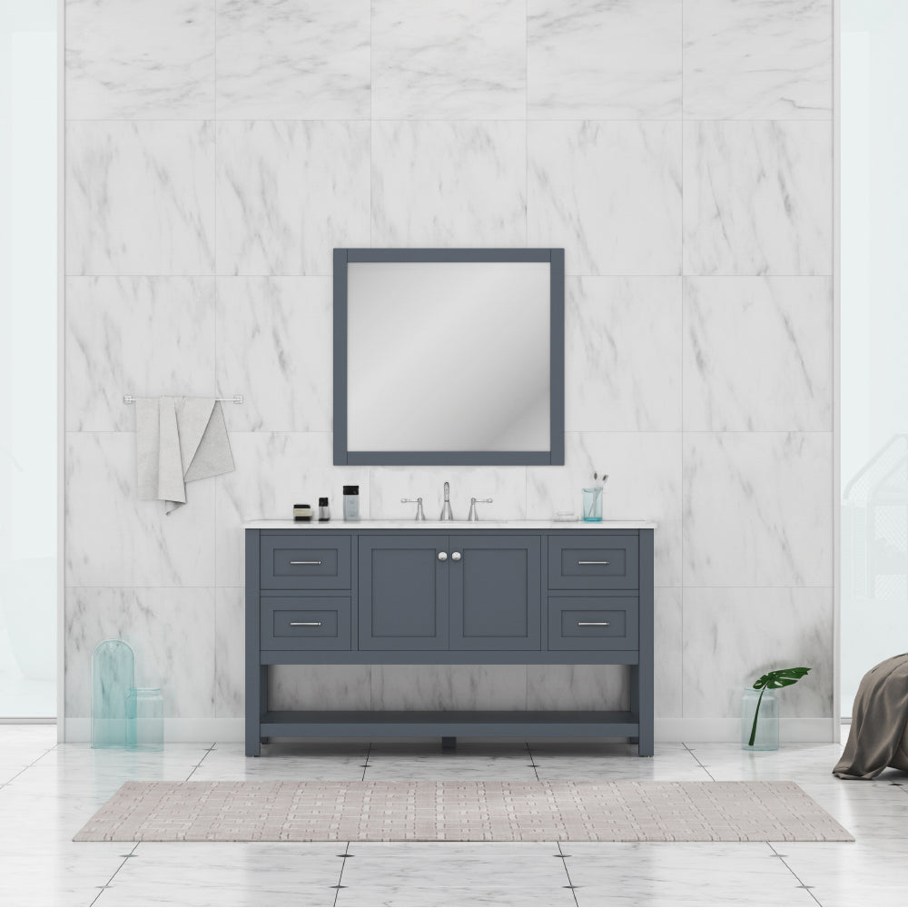 Wilmington 60 inch Single Vanity Gray with Carrera Marble Top